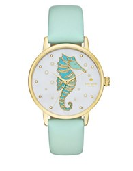 Kate Spade Sea Horse Stainless Steel And Vachetta Leather Strap Watch Teal