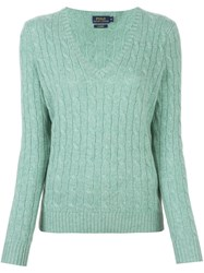 Polo Ralph Lauren Cable Knit V Neck Jumper Green