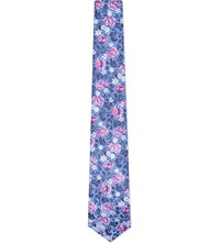 Duchamp Flower And Leaf Silk Tie Pink