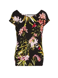 Morgan Bold Floral Print T Shirt With Open Back Black