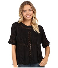 Amuse Society Clover Woven Short Sleeve Top Black Women's Blouse