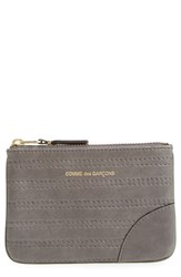 Comme Des Garcons Men's Embossed Leather Top Zip Pouch Wallet Grey