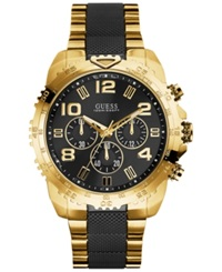 Guess Men's Chronograph Black And Gold Tone Stainless Steel Bracelet Watch 45Mm U0598g4