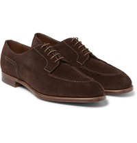 Edward Green Dover Suede Derby Shoes Dark Brown
