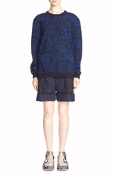 Julien David Camouflage Jacquard Wool Sweater Black Blue
