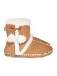 Totes Sherpa Bootie With Pom Poms Tan