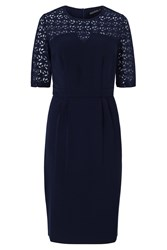 Sugarhill Boutique Audra Lace Detail Knee Length Dress Navy