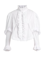 Natasha Zinko Ruffle And Lace Trimmed Cotton Blouse White