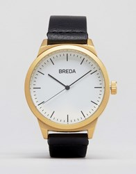 Breda Rand Black Leather Watch With Gold Face Black