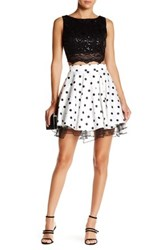 City Triangles Lace Flared Skirt Two Piece Dress Juniors Black