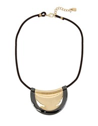 Robert Lee Morris Goldplated And Hematite Geometric Layered Disc Pendant Necklace