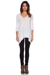 Bobi Cotton Slub Dolman 3 4 Sleeve Tunic White