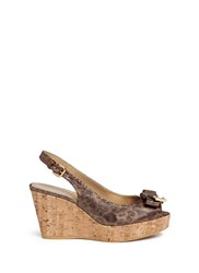 Stuart Weitzman 'Boda Jean' Glitter Leopard Print Cork Wedge Sandals Brown Animal Print