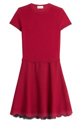 Red Valentino Knit Dress With Lace Hem Detail