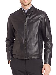 Pal Zileri Biker Nappa Leather Jacket Black