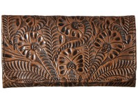 American West Annie's Secret Collection Tri Fold Wallet Distressed Charcoal Brown Wallet Handbags
