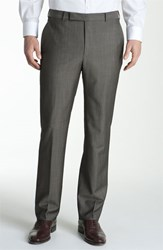 Men's Z Zegna Flat Front Trousers Dark Taupe