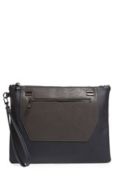 Sole Society 'Nolan' Oversize Faux Leather Clutch Grey Slate