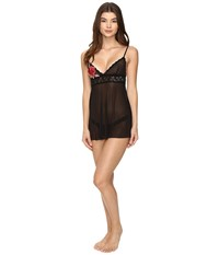 Hanky Panky Rose Applique Babydoll With G String Black Red Women's Lingerie