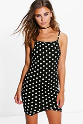 Boohoo Sian Spot Print Square Neck Bodycon Dress Black