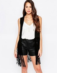 Goldie Run The World Gilet In Suedette With Fringed Hem Black