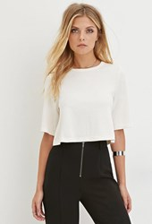 Forever 21 Contemporary Cutout Back Crop Top Cream
