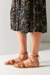 Urban Outfitters Sophie Leather Tie Sandal Brown