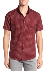 7 Diamonds Men's Trim Fit Short Sleeve Print Woven Shirt Maroon