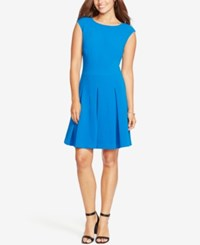 American Living Pleated Jacquard Dress Royal Blue