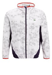 Lacoste Sport Tracksuit Top White Navy Blue Corrida