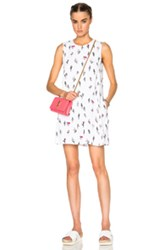 Kenzo Cartoon Cactus Poly Dress In White Abstract