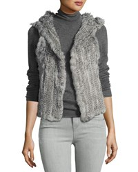 525 America Hooded Rabbit Fur Vest Grey