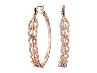 Guess Pave Feather Hoop Earrings Rose Gold Crystal Earring