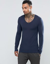 Asos Extreme Muscle Long Sleeve T Shirt With V Neck In Navy Navy