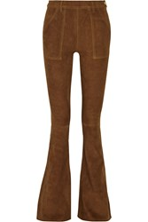 Frame Denim Le Flare De Francoise High Rise Suede Flared Pants Brown