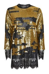 Topshop Patched Sequin Long Line Tunic Ochre