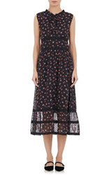 Barneys New York Xo Jennifer Meyer Women's Floral Print Swiss Dot Sheath Dress Black