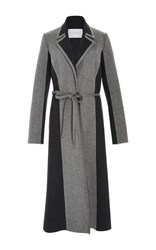Carolina Herrera Bi Color Classic Wool Cashmere Coat Light Grey