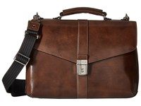 Bosca Old Leather Collection Flapover Brief Teak Briefcase Bags Brown