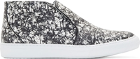 Pierre Hardy Black And White Snakeskin Slip On Sneakers