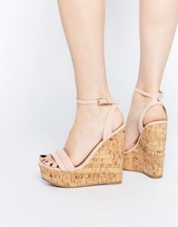 Asos Time Flies Two Part Wedges Beige
