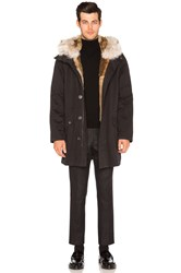 Yves Salomon Twill Parka With Natural Rabbit And Coyote Fur Black