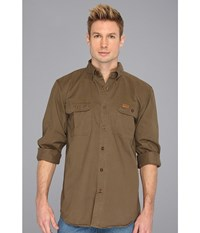 Carhartt Sandstone Oakman Work Shirt Marsh Men's Short Sleeve Button Up Brown