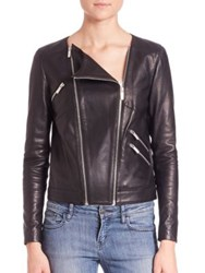 The Kooples Thin Leather And Rib Jacket Black