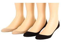 Hue Hidden Cotton Liner 4 Pair Pack Black Cream Assorted Women's No Show Socks Shoes
