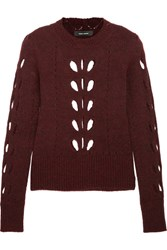 Isabel Marant Ilia Cutout Pointelle Knit Sweater Burgundy
