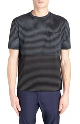 Men's Lanvin Distressed Colorblock Stripe T Shirt