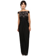 Adrianna Papell Off Shoulder Sequin And Stretch Tulle Gown Black Rose Gold Women's Dress