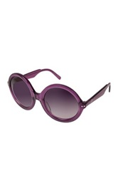 7 For All Mankind Women's Purple Crystal Round Frame Sunglasses