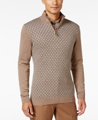 Tasso Elba Men's Big And Tall Pattern Quarter Zip Sweater Only At Macy's Cocoa Bean Heather